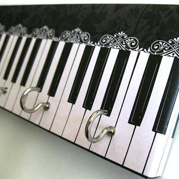 """Jewelry Holder and Key Rack  - """"Piano"""" - Black and White Piano, Musical Instrument, Ebony and Ivory, Lacy Detail (5 nickel hooks)"""