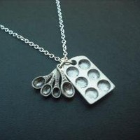 muffin pan and measuring spoon necklace by Lana0Crystal on Etsy