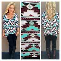 Aztec Mint & Black Oversize Long Sleeve Top