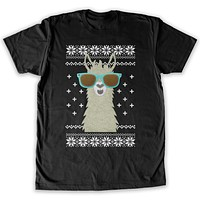 Function -  Ugly Christmas Faux Felt Llama Men's Fashion T-Shirt