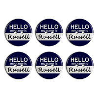 Russell Hello My Name Is Plastic Resin Button Set of 6
