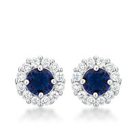 Belle Sapphire Blue Halo Stud Earrings