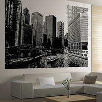 Vinyl Wall Decal Sticker Chicago River Ferry #5224