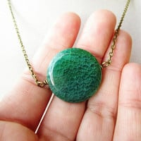 Round Green Fire Agate Stone Coin Long Boho Hipster Layering Necklace