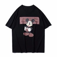 LV Louis Vuitton Stylish Unisex Loose Print Short Sleeve Round Collar T-Shirt Top Black I-GQHY-DLSX