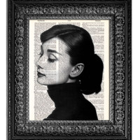 AUDREY HEPBURN PROFILE 1 Dictionary Art Print