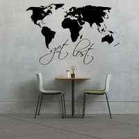 World Map Decal - Get Lost - Wall Art - Wall Decor - Quote Decal - Home Decor - Gift Ideas - Room Decor - Travel - Adventure - Wanderlust
