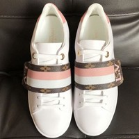 【Louis Vuitton】LV Women Trending Casual Shoes Stripe Pink White Sneakers B-ALS-XZ White