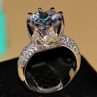 Rings 8ct Solitaire Luxury 925 Big White topaz Simulated Diamond