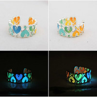 FREE SHIPPING Glow in the dark rainbow color adjustable ring