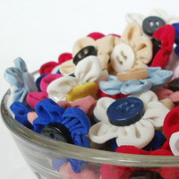 Fabric flowers, decoration, hair accessory, small flowers, on handbags,scrapbooking ideas,home decor idea, raw material,set of flowers
