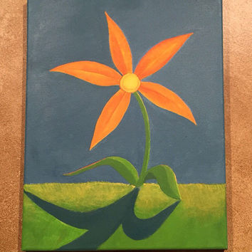 Lonely Happiness Acrylic Painting of a Flower on Canvas