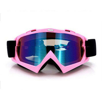 Adult Colourful double Lens Snow Ski Snowboard Goggles Motocross Anti-Fog Fashion Eye Protection Pink Colourful