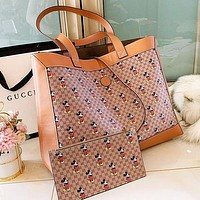 GG x Disney Shopping Bag Leather Handbag Tote Satchel Shoulder Bag Purse Wallet Set Two Piece Khaki