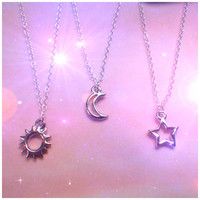 Dainty Silver Sun, Moon or Star necklace