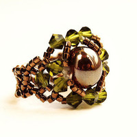 Swarovski crystal beaded ring stretch olivine bronze copper rust