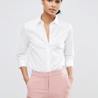 ASOS 3/4 Sleeve White Shirt in Stretch Cotton at asos.com