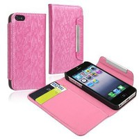 Amazon.com: eForCity Wallet Leather Case with Card Holder compatible with Apple® iPhone® 5, Light Pink: Cell Phones & Accessories