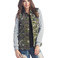 Knit Sleeves Camo Anorak Jacket | Wet Seal