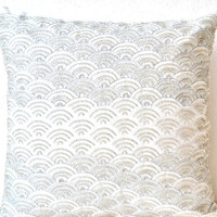 Ivory white throw pillows with silver sequins in waves - Dazzling pillow cover- Cushion cover zipper - Throw pillow - Spring Summer gift