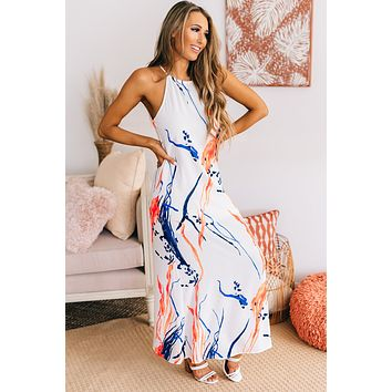 Work Of Art Maxi Dress (White/Navy/Coral)