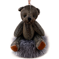 Cute Bear Keychain with Pom Pom