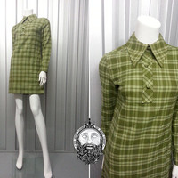 Vintage 60s Mod Mini Shift Dress Scooter Green Plaid Dagger Collar St Michael Wool Fabric Womens XS S Tartan Pattern Long Sleeve 1960s