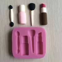 Makeup Tools Design Lipstick Fondant Cake Molds 3D Silicone Soap Chocolate Candy Decorative baking Bakeware kitchen accessories