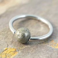 14g 16g 18g Gold Pyrite Septum Ring Cartilage Hoop Belly Button Jewelry