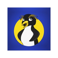 Rockhopper penguin cartoon canvas print