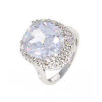 Dear Deer White Gold Plated Classic Filigree Cubic Zirconia Engagement Ring
