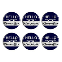 Remington Hello My Name Is Plastic Resin Button Set of 6