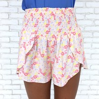 Bright As Day Watercolor Floral Shorts