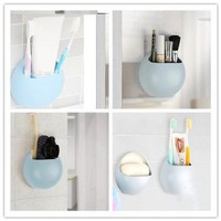 Soap Saver,Wall Suction Soap Cups Dish Box Container Toothbrush Toothpaste Holder Kitchen Bathroom Organizer By Yueton (sky blue)