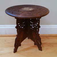 Vintage Round Ornate Carved Wood End Table Plant
