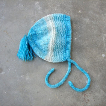 Blue baby bonnet in soft angora, choose your size