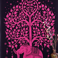 Elephant Tree Tapestry ,Good Luck Pink Elephant Tapestry , Hippie Gypsy Wall Hanging , Tree of Life Tapestry , New Age Dorm Tapestry
