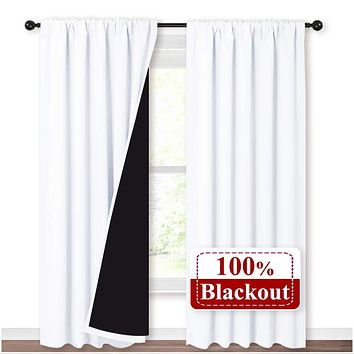 NICETOWN 100% Blackout Curtain Panels, Rod Pocket Window Curtains with Black Liner for Nursery, 84 inches Drop Heat and Full Light Blocking Draperies (White, 2 Pieces, 52 inches Wide Each Panel) W52 x L84 Pure White