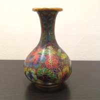 Beautiful Small Cloisonee Footed Vase with Floral Decoration from China