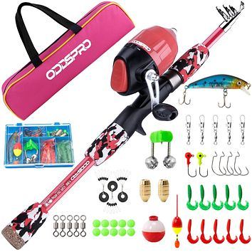 ODDSPRO Kids Fishing Pole, Portable Telescopic Fishing Rod and Reel Combo Kit - with Spincast Fishing Reel Tackle Box for Boys, Girls, Youth Pink 1.5M 4.92Ft