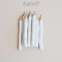 """white twig pencils - hand painted 4"""" (10 pencils)"""