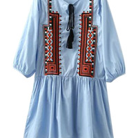 Blue Lace Up Front Embroidery Pattern 3/4 Sleeve Dress