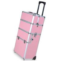 Professional Rolling Train Cosmetic Makeup Case Pink