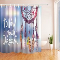 3D Printing Shower Curtain Dream Catcher Waterproof Mildew Polyester Bathroom Partition Curtain Shower Curtain