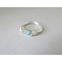 Pacific Opal Blue Crystal Argent - enamel coated silver Wrapped Ring