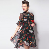 Black Animal and Floral Print Mesh Dress
