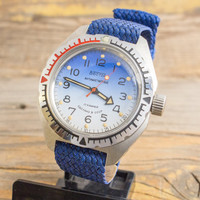 Vintage Boctok Wostok Amphibia watch in never used condition, blue and white dial, russian watch, stainless steel ussr ccp soviet watch