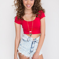 Lucy Basic Crop Top - Red