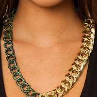 Accessories Boutique Necklace Two Tone Chain in Gold and Green