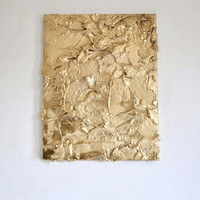 Abstract 'Fools Gold' Sculptural Painting By Melissa Page 14 x 18''